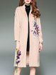 Wool Blend Printed Casual Coat With Pockets