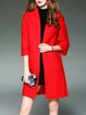 Red H-line Slit Casual Coat
