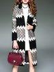 Wool Blend Casual Color-block Lapel H-line Coat