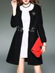 Black Crew Neck Paneled Long Sleeve Coat with Pockets