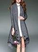 Casual Wool Blend Long Sleeve Cutout Coat