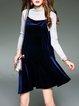Two Piece Casual Cotton-blend Plain Mini Dress