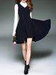 Navy Blue A-line Sleeveless Casual Jacquard Mini Dress