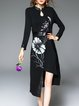 Long Sleeve Vintage Stand Collar Floral Printed Midi Dress