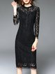 Black Sheath Pierced Lace Elegant Midi Dress