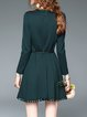 Crew Neck Cotton-blend Casual Plain Long Sleeve Mini Dress