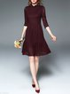Wine Red A-line Elegant Pierced Midi Dress