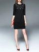 Black Beaded H-line Stand Collar Elegant Mini Dress
