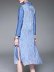 Blue Vintage H-line Embroidered Midi Dress