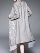 Gray Silk H-line Embroidered Pockets Casual Coat