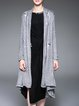 Gray Knitted H-line Long Sleeve Appliqued Cardigan