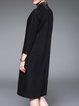 Black Embroidered 3/4 Sleeve V Neck Midi Dress