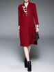 Wine Red Embroidered Casual V Neck Midi Dress