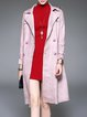 Pink Paneled Plain Long Sleeve Pockets Trench Coat