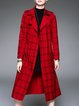Red Polyester Long Sleeve Pockets H-line Trench Coat