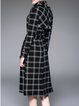 Black Simple H-line Checkered/Plaid Trench Coat