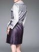 Gray Ombre/Tie-Dye Polyester Pockets Lapel Trench Coat