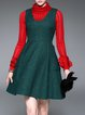 Green Elegant Pockets Mini Dress