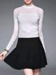 White Stand Collar Simple Zipper Long Sleeved Top