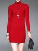 Simple Long Sleeve Bodycon Knitted Sweater Dress