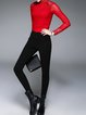 Black Solid Casual Zipper Legging
