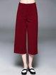 Red Pockets Casual Plain H-line Wide Leg Pants