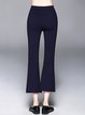 Navy Blue Pockets Casual Flared Pants