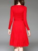 Red Simple V Neck A-line Sweater Dress