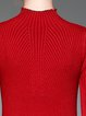 Red Ribbed Stand Collar Casual Sweater