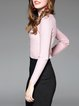 Pink Crew Neck Long Sleeve Knitted Sweater