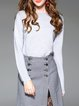 Gray Long Sleeve Knitted Plain Sweater