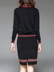 Black Long Sleeve Knitted Two-piece Set