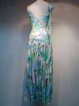 Blue Spaghetti Silk Beaded Maxi Dress