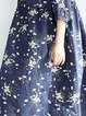 Blue Half Sleeve Crew Neck Floral Linen Dress