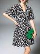 Black Butterfly Print V Neck A-line Casual Mini Dress