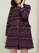 Crimson Wool Long Sleeve Tribal H-line Coat