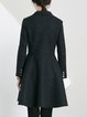 Black Long Sleeve A-line Lapel Plain Wool Coat