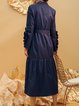 Dark Blue Ruffled Lapel Long Sleeve A-line Trench Coat with Belt
