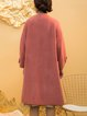Pink Long Sleeve A-line Pockets Plain Wool-blend Coat