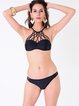 Black Plain Ruched Caged Bikini