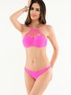 Pink Ruched Plain Caged Sexy Bikini