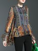 Multicolor Tribal Asymmetrical Vintage Blouse