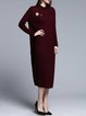 Wine Red Casual H-line Knitted Plain Sweater Dress