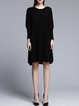 Black Casual Crew Neck Knitted Sweater Dress