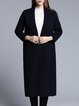 Navy Blue Cashmere Long Sleeve Pockets Slit Coat
