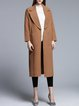 Khaki Simple Cashmere Slit Plain Lapel Coat