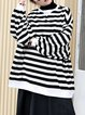 Black Stripes Casual Oversized Sweatshirt