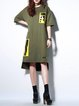 Army Green Casual High Low Tunic