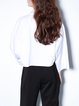 White Statement Chiffon Long Sleeve Big Pocket Blouse