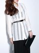 White Long Sleeve High Low Plain Pierced Tunic
